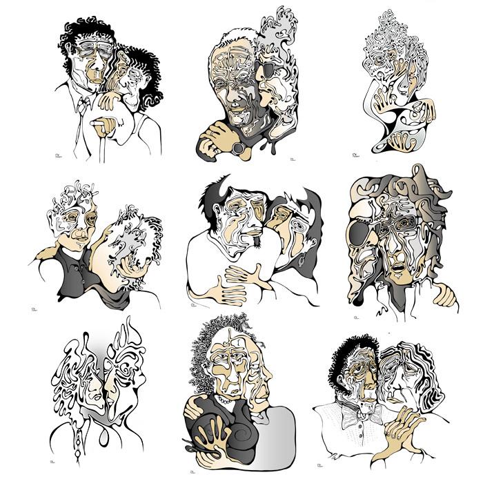 Amours sereines et tourmentées : dessins : portrait de couple