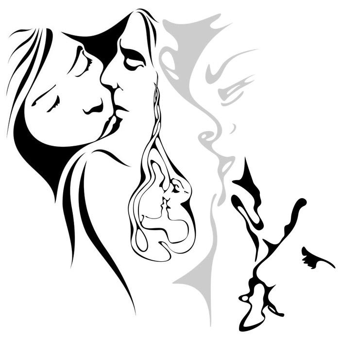 poésie illustrée du couple amoureux : balade en amour
